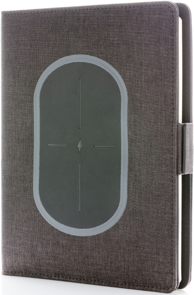 front angled view of the a5 wireless charging folder showing charging pad