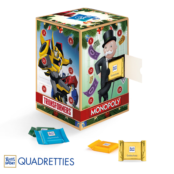 Advent Calendar Tower with Ritter Sport Filling in full colour print