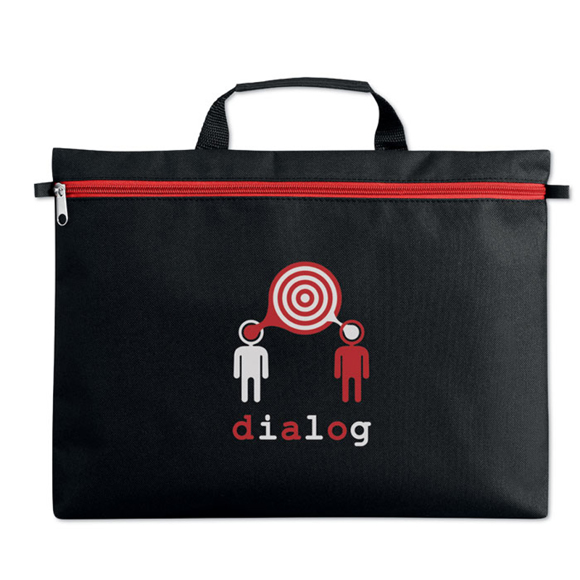 Black document bag with carry handle and red zip printed with a company logo on the front