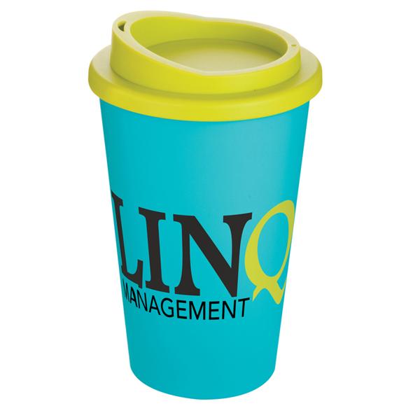 reusable coffee mug with 2 colour branding