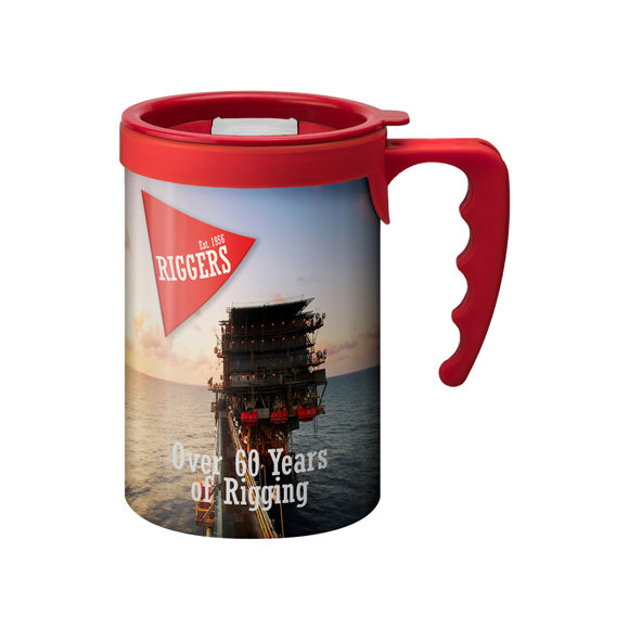 Large travel mug with red lid and handle and full colour wrap print