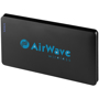 Large black power bank with a company logo printed on one side