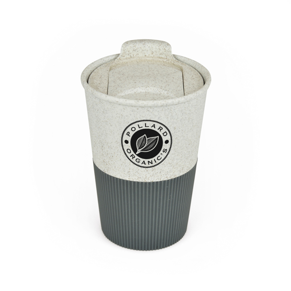 bamboo travel mug with rubber grippy sleeve