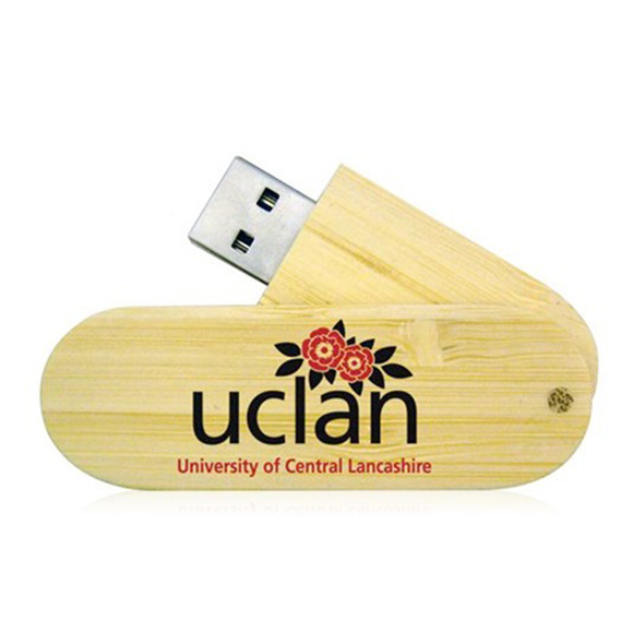 Bamboo Twist USB slightly extended with 2 colour print logo