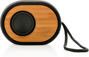 Bamboo X Eco Bluetooth Speaker in bamboo and black with black strap