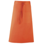 Long continental style Bar Apron in orange with single pocket, combined pen pocket and tie waist