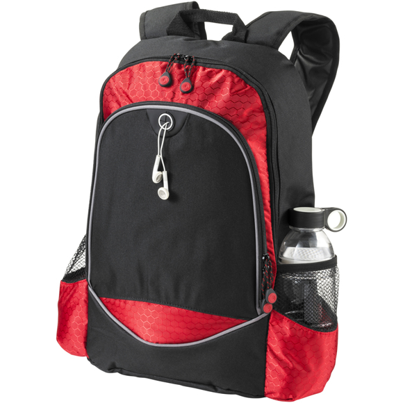 """Benton 15"""" laptop Backpack in black and red"""