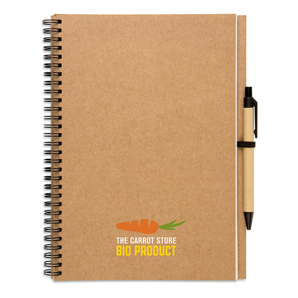 Bloquero Plus Notebook in brown with black elastic pen loop, black and brown pen and 4 colour print logo on book