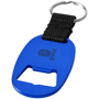 flat blue keyring with one colour branding and a bottle opener to one side