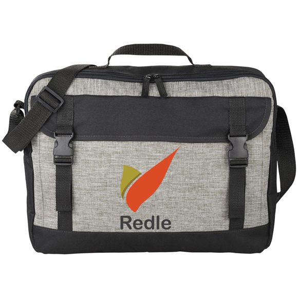Light grey and black satchel style messenger bag printed with a logo on the front panel