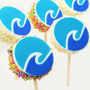 cake lollipop bite with printed topper