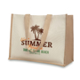 Natural landscape bag with long handles and cream front panels for branding