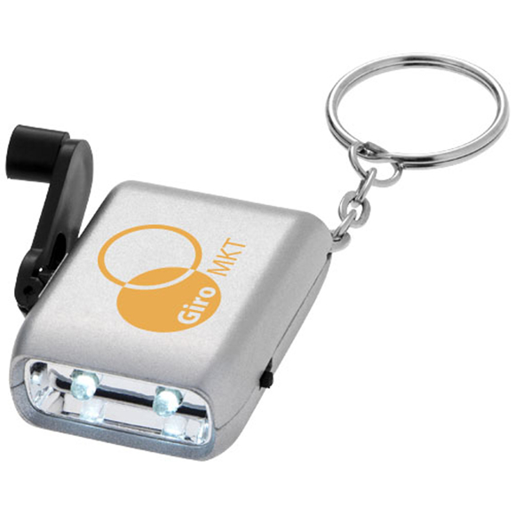 Carina Dynamo Keyring Torch in silver with black wind up and 1 colour print logo