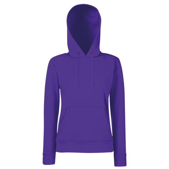 Classic Lady-fit hoodie in purple with double fabric hood and drawstrings