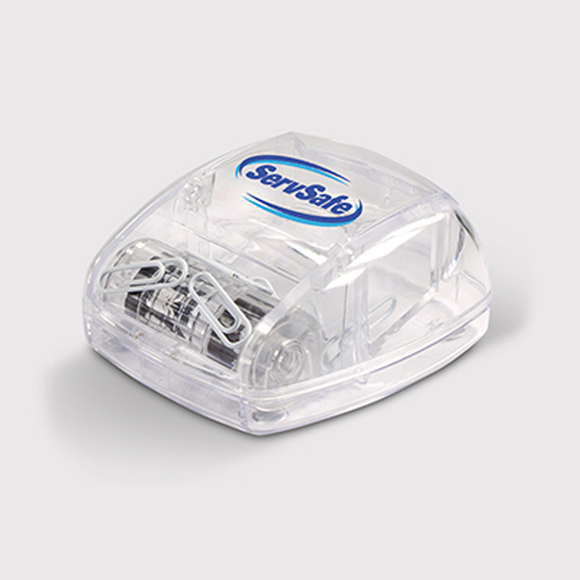 Paper clip dispenser with company logo printed on the top