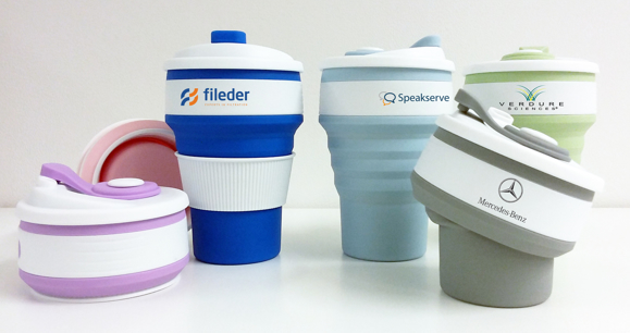 5 silicone collapsible coffee mugs is different colours