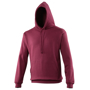 College Hoodie in red with double fabric hood, kangaroo pouch and drawstrings