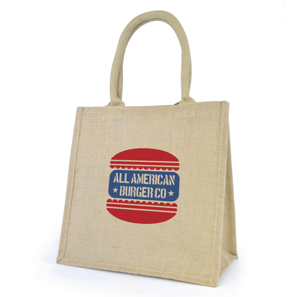 Promotional jute bag with handle and print to the front