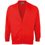 Coloursure Cardigan in red with 4 self-coloured buttons, knitted cuff and welt and herringbone taped neck