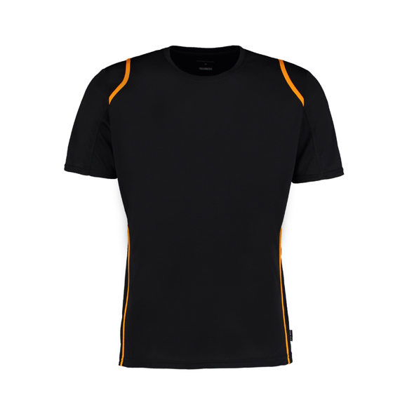 Cooltex T-shirt in black with orange detail