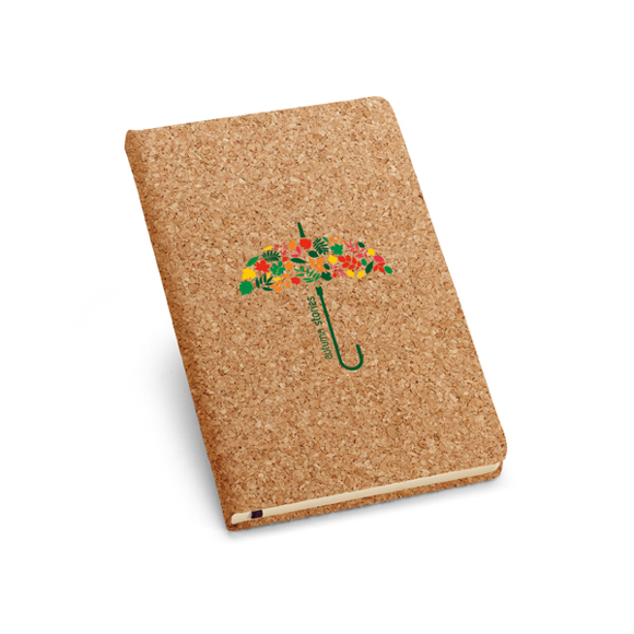 Cork pad with black book mark and full colour print logo