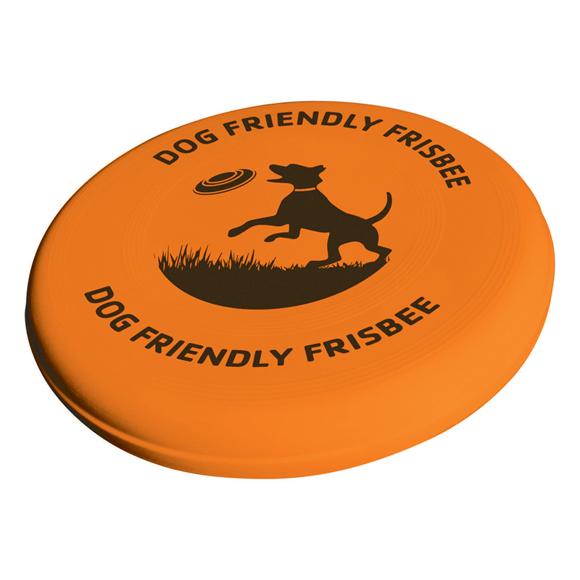 orange dog frisbee with 1 colour print
