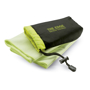 lime green  dry towel and pouch with 1 colour branding
