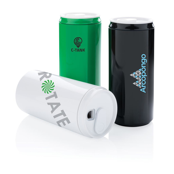 Reusable drinking can with printed logo
