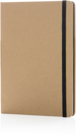 Eco Friendly A5 Kraft Notebook in brown with black elastic closure strap