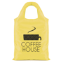 Yellow rounded handle shopping bag with a company logo printed on the front