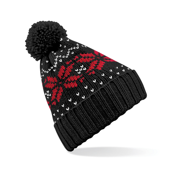 Fair Isle Snowstar Beanie in black with bobble and white and red colour pattern