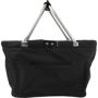 Large black reusable shopping basket with metal handles
