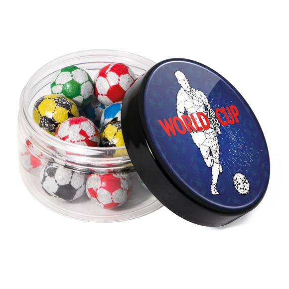 Small screw lid jar of chocolate foiled footballs