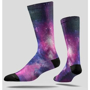 Full Sub Socks with galaxy print on whole sock with black heel and toe