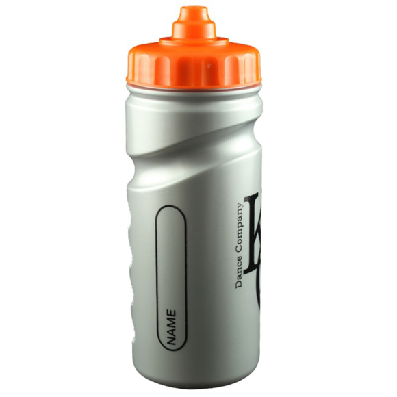 silver finger grip sports bottle with orange lid ane 1 colour spot print