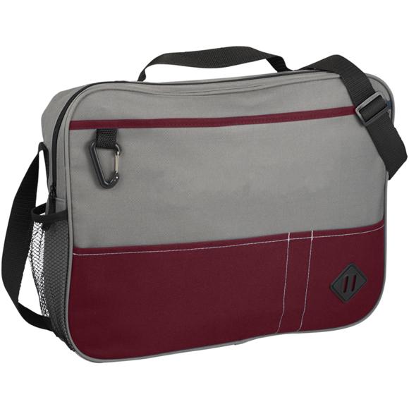 Grey and red laptop shoulder briefcase