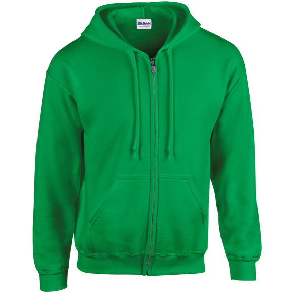 Heavy Blend Full Zip Sweatshirt in green with pouch pockets, unlined hood and drawstrings