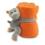 orange blanket with hugging hippo
