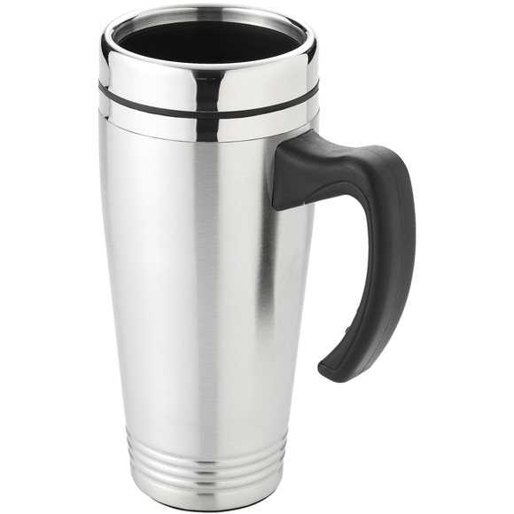 stainless steel insulating travel mug with black plastic handle