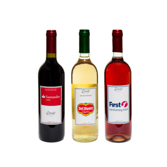 Bottles or red, white and Rose wine all with personalised labels