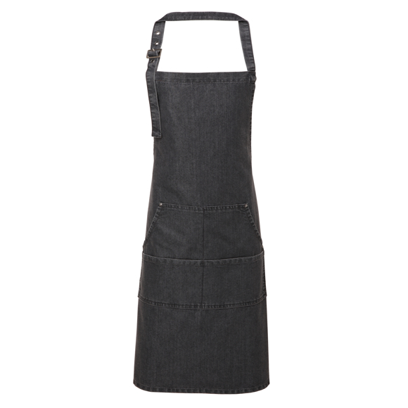 Jean Bib Apron in black with contrasting stitching, 4 pocket compartments and adjustable buckle on neckband