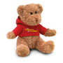 johnny bear with red hooded sweater