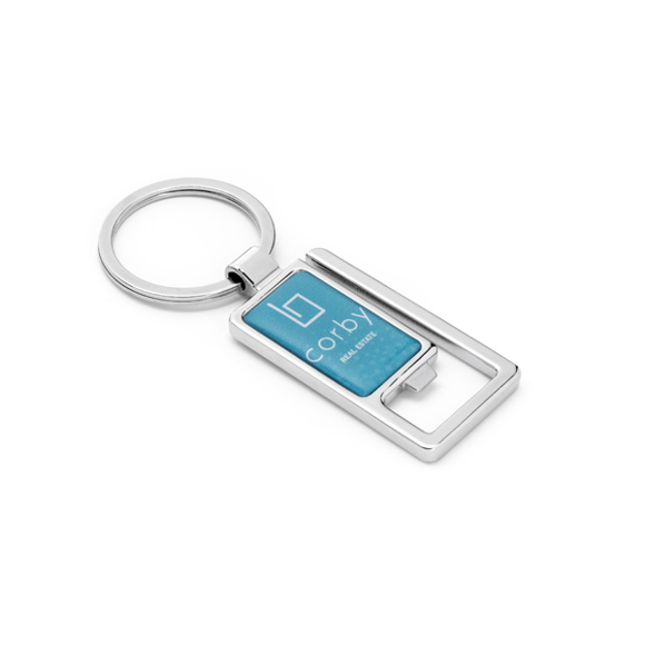 blue rectangular keyring with a bottle opener to one end and keyring loop to the other