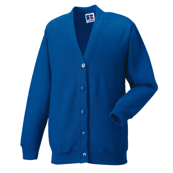Kids Cardigan in blue with set in sleeves and 5 buttons
