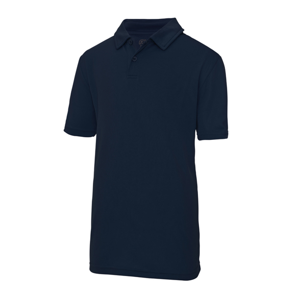 Kids Cool Polo in navy with collar and 2 buttons