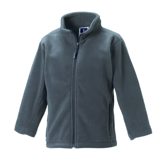 Kids Full Zip Fleece in grey with cadet collar, side pockets with reversed zips and cord pulls on all zips