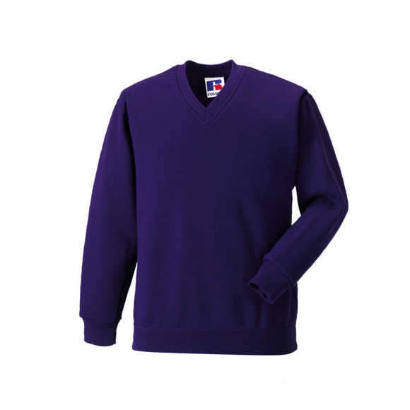 Kids V Neck Sweatshirt in purple with set in sleeves and side seams
