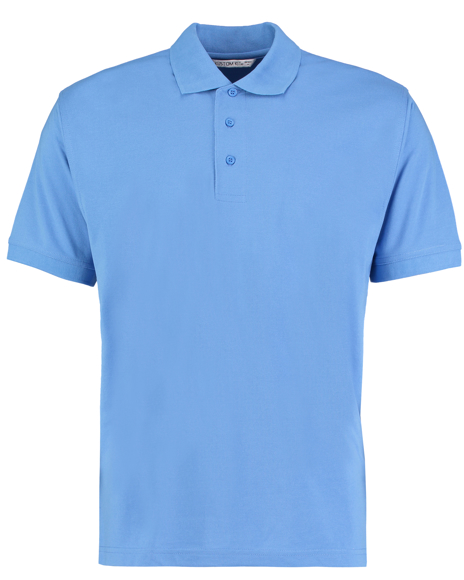 Kustom Kit Klassic Short Sleeve polo in blue with collar and 3 buttons