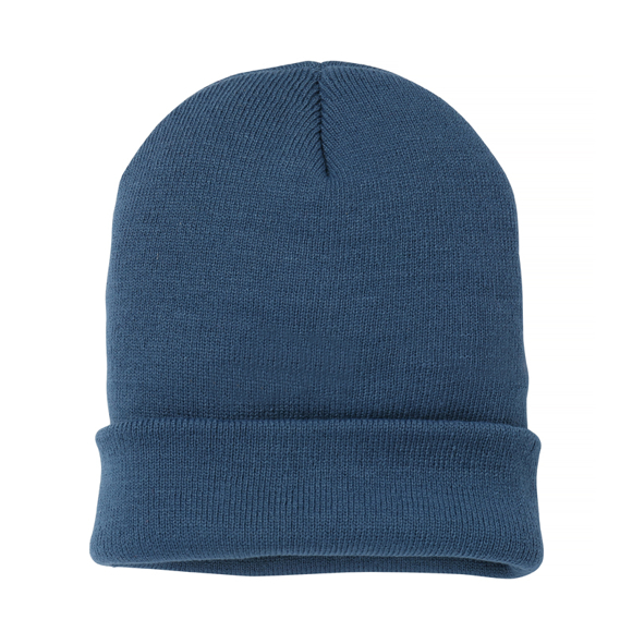 Knitted Turn-Up Beanie in navy