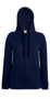 Lady-Fit Lightweight Hoodie in navy with full covered zip, 2 pouch pockets and drawstrings